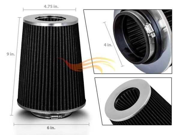 BLACK 4quot; 102mm Inlet Truck Air Intake Cone Replacement Quality Dry Air Filter