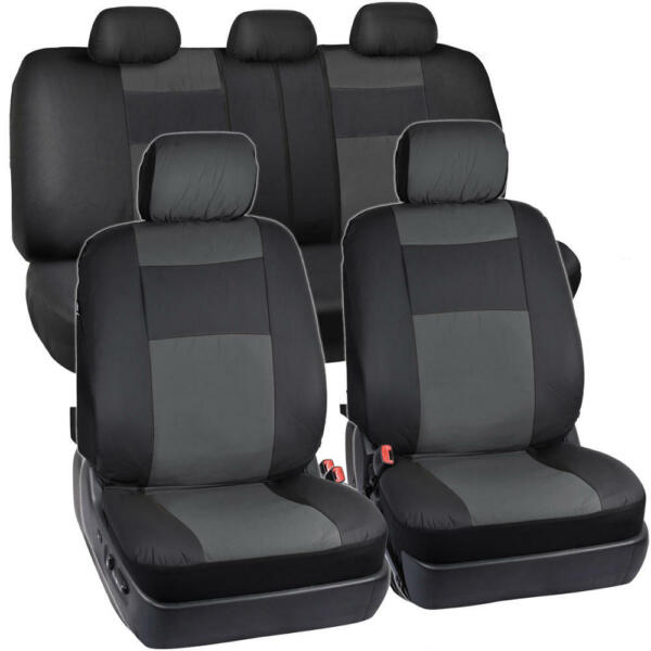 Synthetic Leather Car Seat Covers - BlackCharcoal Gray Full Set Protection