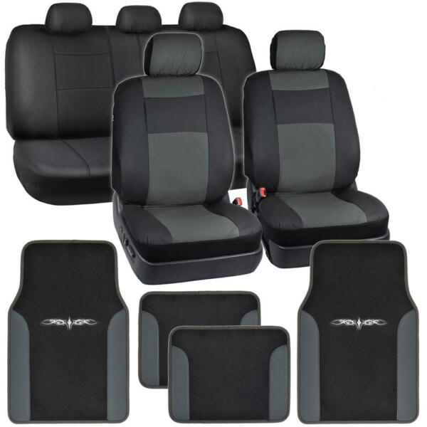 Dark Gray on Black PU Leather Seat Covers for Car w/ Vinyl Trim Floor Mats