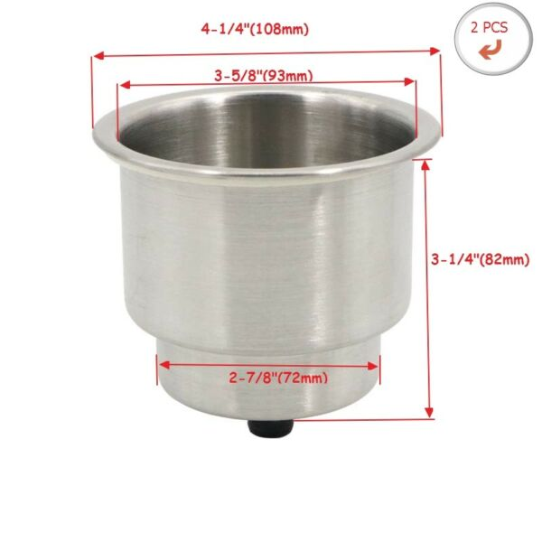 2 X Stainless Steel Cup Drink Holder Marine Boat Car Truck Camper RV