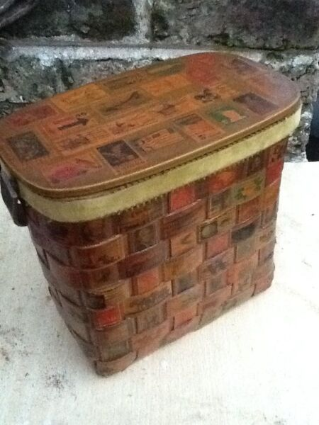 Vintage Wooden Box Purse Stamps Latch Lid