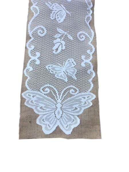 14quot; x 96quot; Burlap Runner With White Butterfly Design Lace