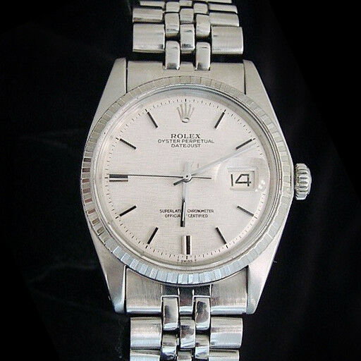 Rolex Datejust Mens Stainless Steel Watch Silver Linen Dial Jubilee Band 1603