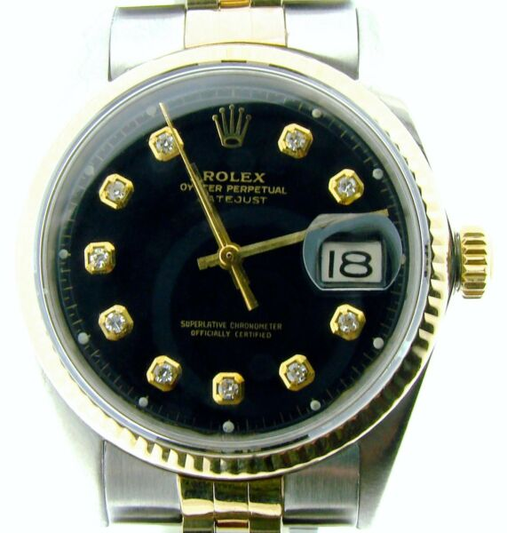 Rolex Datejust Mens 2Tone Gold  Stainless Steel Watch Black Diamond Dial 1601