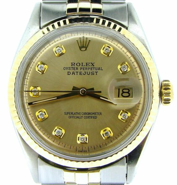 Rolex Datejust Mens 2Tone Gold & Stainless Steel Champagne Diamond Dial 1601