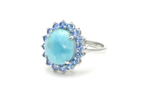 Larimar Natural 10X12mm Topaz Combination 925 Sterling Silver Ring Size 6