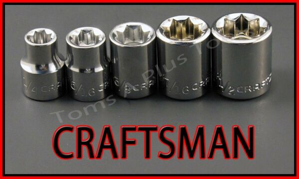 CRAFTSMAN HAND TOOLS 5pc LOT 3/8 Dr SAE 8 point ratchet wrench socket set !!