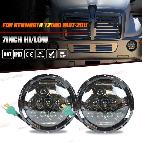 Fits Kenworth T2000 Semi-Truck Trailer LED Headlight High Low Beam 2x Head Lamp