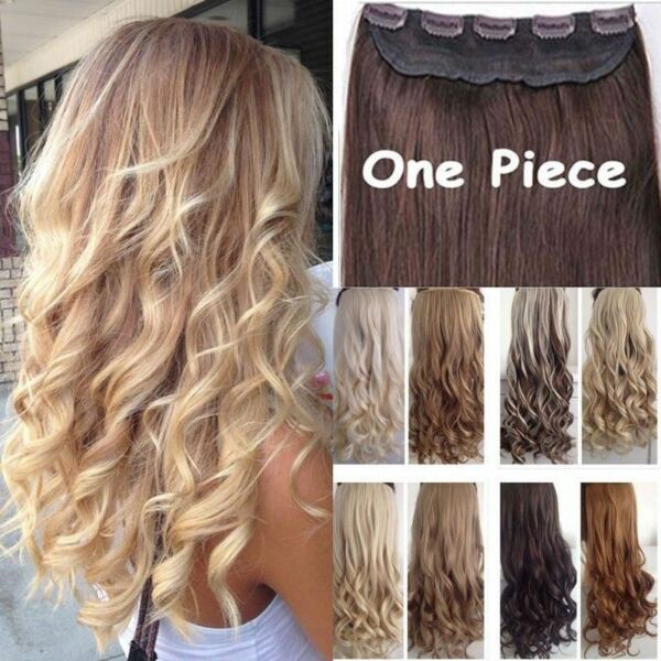 Real Thick 1pcs Clip in 34 Full Head Hair Extensions Extension One Piece f7