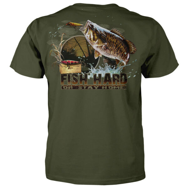 Fish Hard Or Stay Home Fishing T shirt Fisherman Bass Trout Hunting Game Funny $19.99
