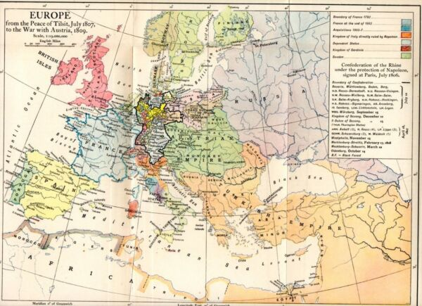 MAP OF EUROPE FROM PEACE of TILSIT JULY 1807 TO WAR WITH AUSTRIA 1809 (NAPOLEON)