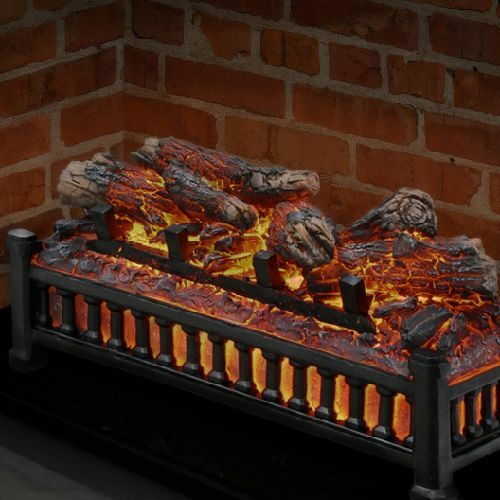 Electric Fireplace Logs Insert Wood Crackling Glowing Faux Fake Flame Hearth Log