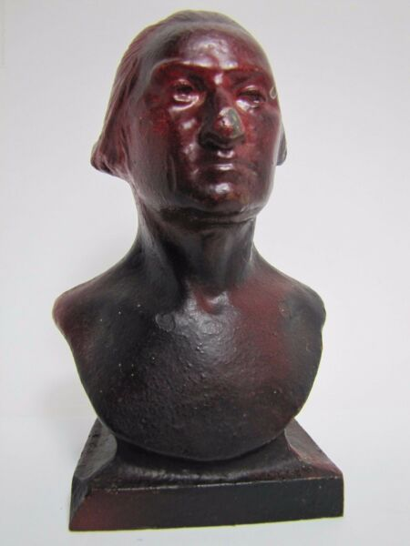 Antique Cast Iron George Washington Figural Head Bust Doorstop old detailed