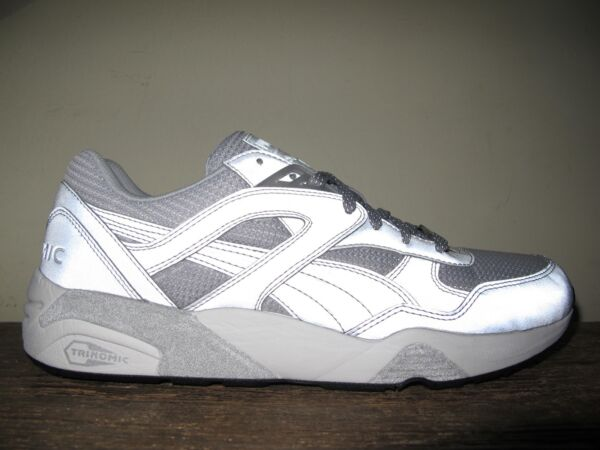 RARE Puma Trinomic R698 Reflective 3M Silver Metallic sz 10.5 shoes sneakers