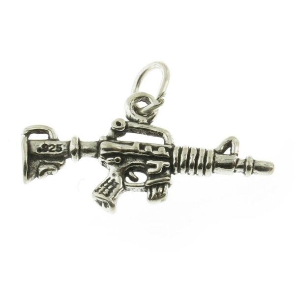 925 Sterling Silver Automatic Rifle Charm Made in USA $10.79