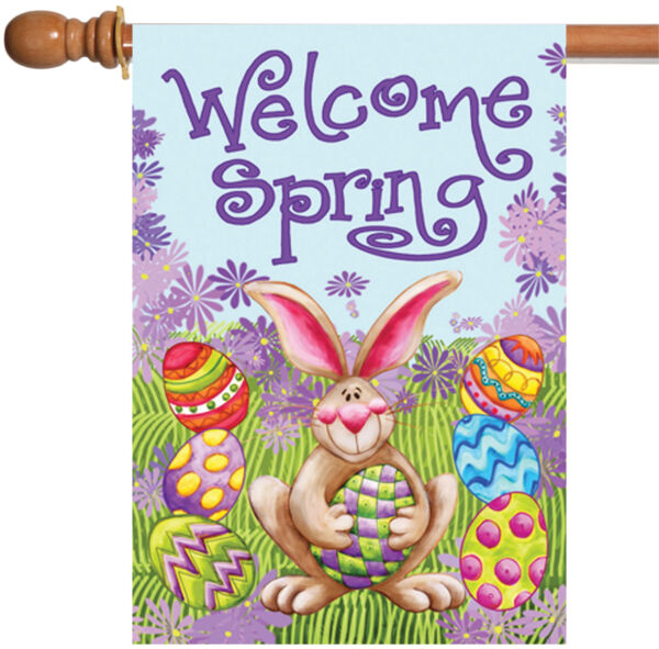 Toland Welcome Spring 28 x 40 Easter Bunny Colorful Egg Double Sided House Flag