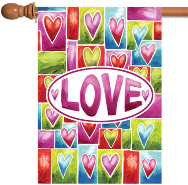 Toland Valentine Love 28 x 40 Bright Colorful Heart Double Sided House Flag