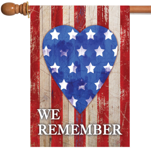 Toland We Remember Our Heroes 28 x 40 USA America Heart Double Sided House Flag