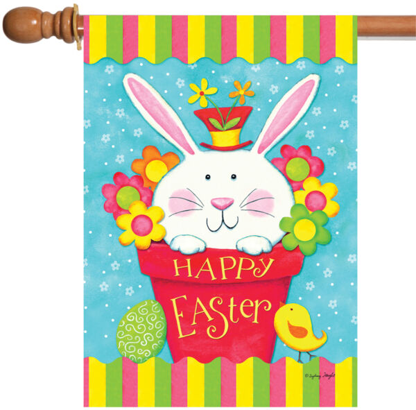 Toland Peeping Bunny 28 x 40 Colorful Happy Easter Basket Egg Flower House Flag