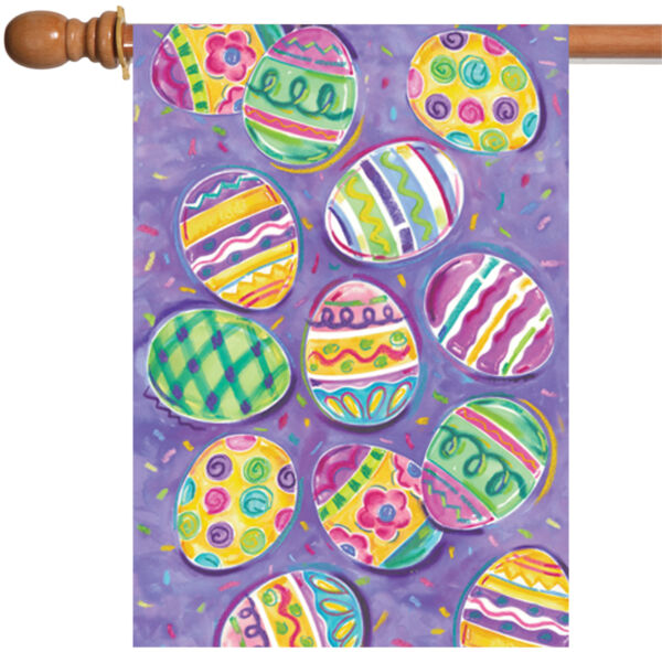 Toland Egg Toss 28 x 40 Colorful Easter Collage Pattern House Flag