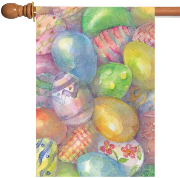 Toland Easter Eggs 28 x 40 Colorful Watercolor Pastel Pattern House Flag