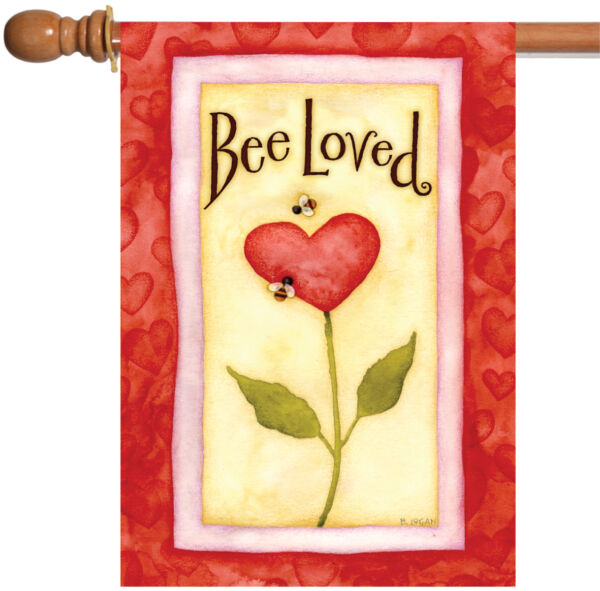 Toland Bee Loved 28 x 40 Cute Red Love Valentine Heart House Flag