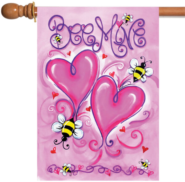 Toland Bee Mine 28 x 40 Cute Red Pink Heart Valentine House Flag