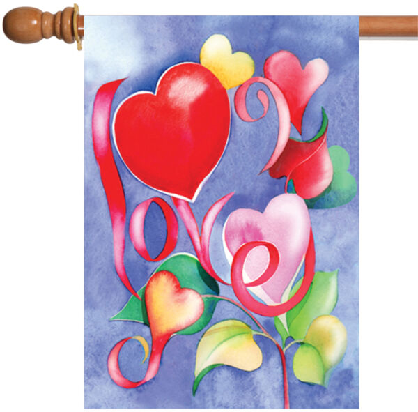 Toland Love 28 x 40 Colorful Red Pink Heart Flower Valentine House Flag