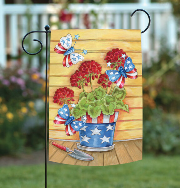 Toland Patriotic Pail 12.5 x 18 Colorful Summer Flower Butterfly USA Garden Flag