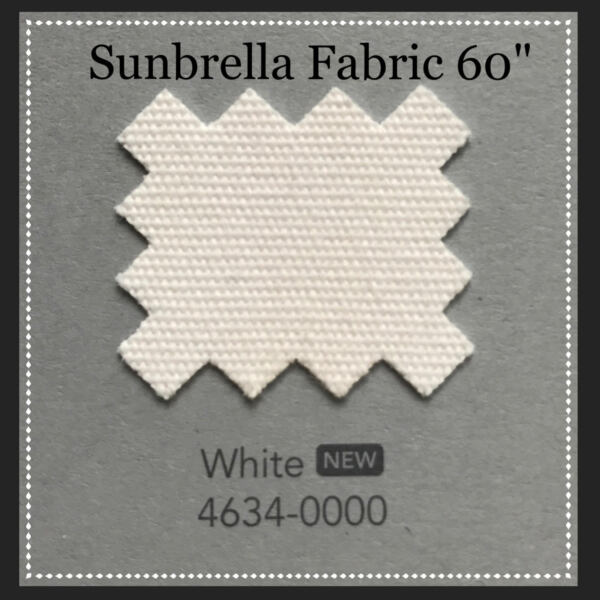 Sunbrella Fabric 60quot; Wide White By the Yard NEW COLOR