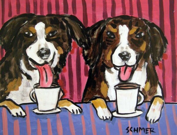 bernese mountain dog coffee 4x6  art print glossy impressionism