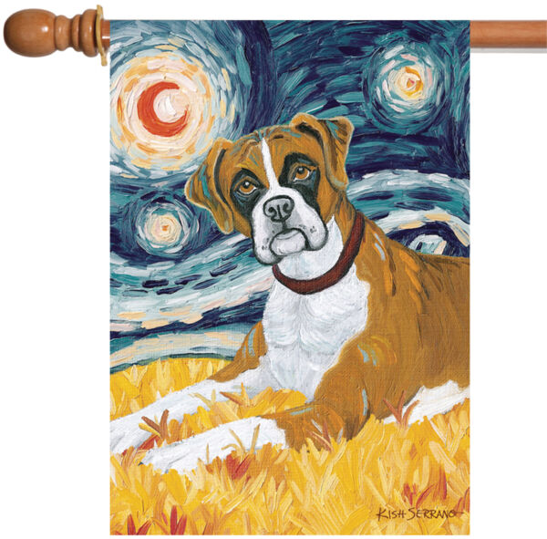 Toland Van Growl Boxer 28 x 40 Starry Night Puppy Dog Portrait House Flag