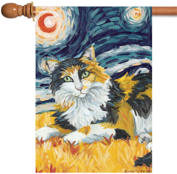 Toland Van Meow Calico Kitty 28 x 40 Starry Night Cat Portrait House Flag
