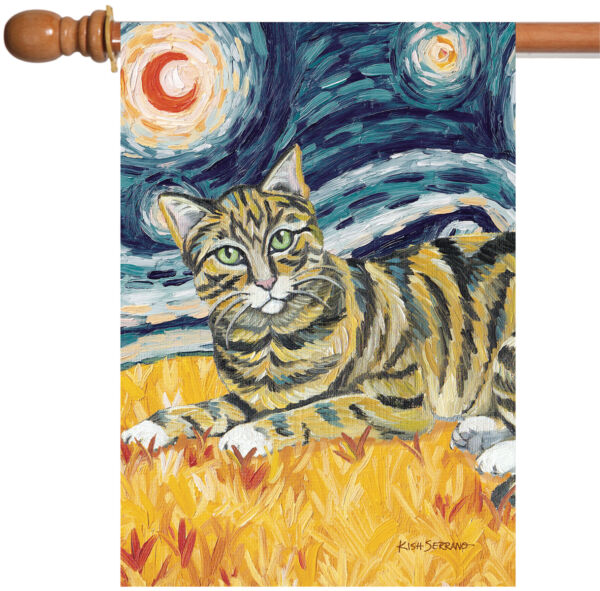 Toland Van Meow Tabby Kitty 28 x 40 Starry Night Cat Portrait House Flag