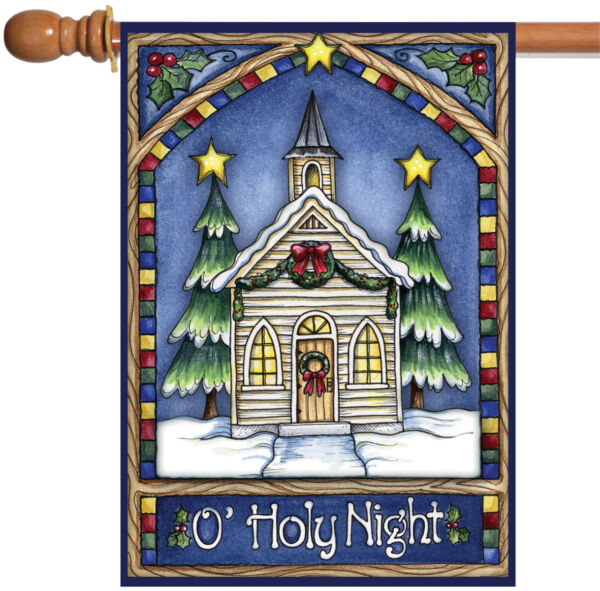 Toland Christmas Church 28 x 40 O Holy Night Stained Glass Winter House Flag