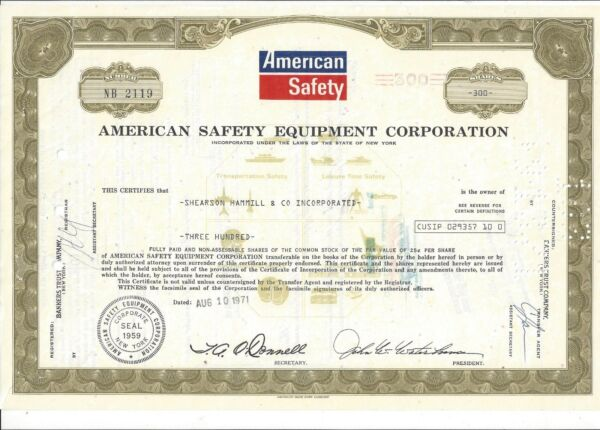 AMERICAN SAFETY EQUIPMENT CORPORATION.....1971 STOCK CERTIFICATE