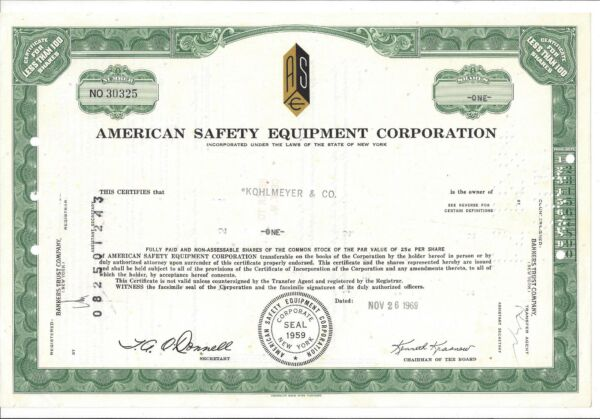 AMERICAN SAFETY EQUIPMENT CORPORATION....1969 STOCK CERTIFICATE