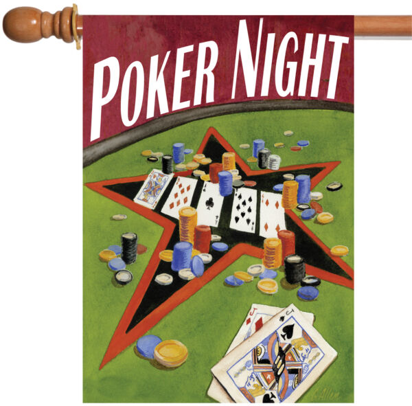 Toland Poker Night 28 x 40 Card Game Chips Ace Jack House Flag