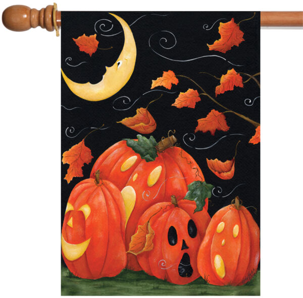 Toland Scary Night 28 x 40 Windy Halloween Moon Fall Autumn Leaves House Flag