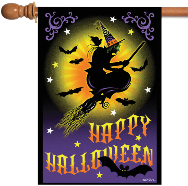 Toland Flight of the Witch 28 x 40 Happy Halloween Night Moon Bat House Flag