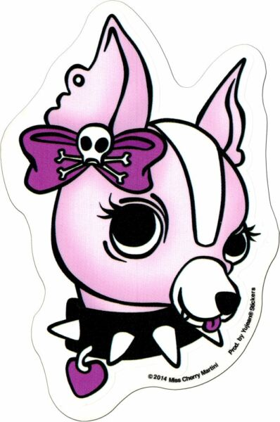 Sticker Pink Girl Chihuahua Dog Spiked Collar Cherry Martini Clear Decal 15835 $5.25