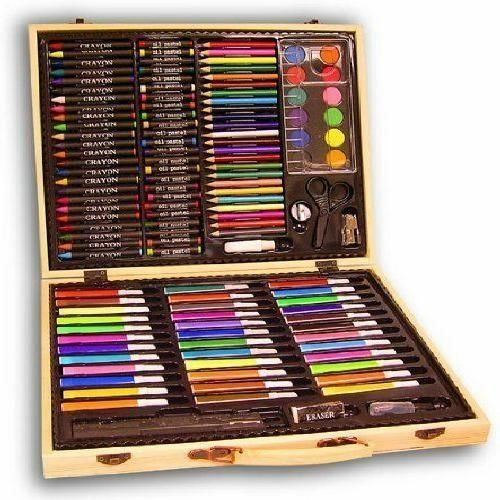 131 Piece Art Kit Set Pencils Pastels Painting Kids Artist Case Drawing Wood Box