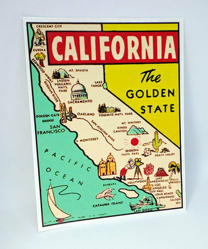 State of California Vintage Style Travel Decal Vinyl Sticker Luggage Label