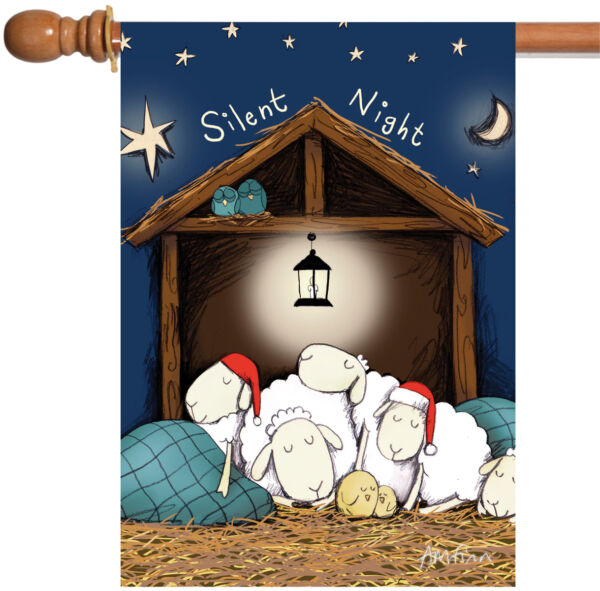 Toland Silent Night 28 x 40 Cute Cozy Christmas Sheep Stable Animal House Flag