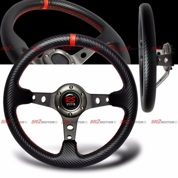 Universal PVC Carbon Fiber 320mm Red Stitches Deep Dish Drift Steering Wheel JDM