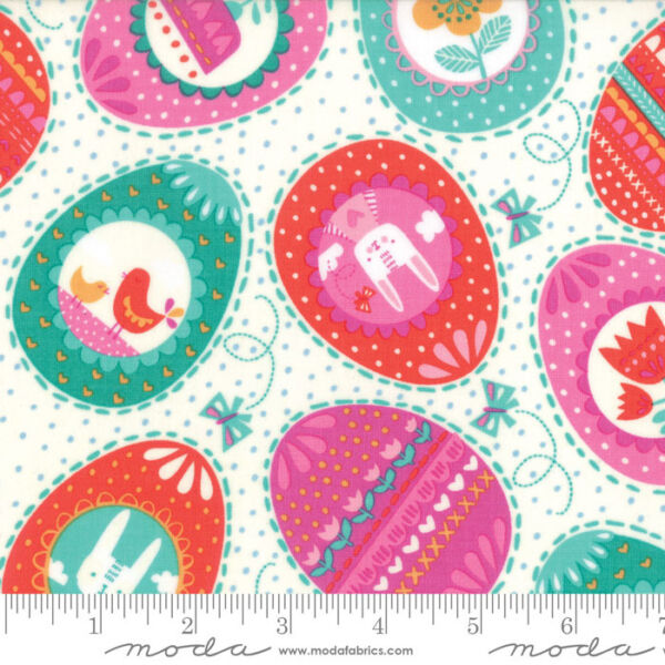 By 1 2 Yard Moda Fabric Spring Bunny Fun Easter Eggs Cream Rabbit Aqua Pink