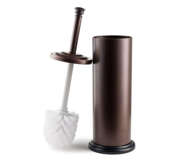 Toilet Brush Holder Bathroom Cleaning Supplies Decor Bronze Stainless Steel NEW