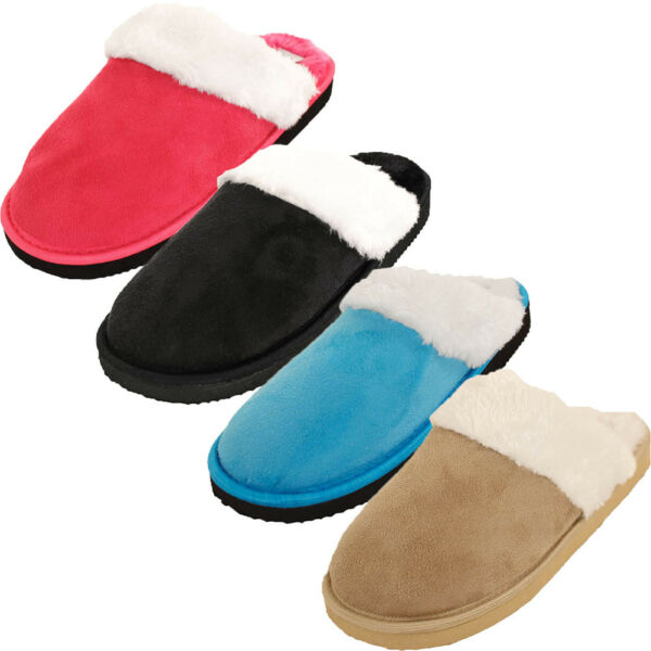 Womens Furry Slippers Faux Suede Fur Cozy Fuzzy House Shoes Scuff Mule Soft Warm $9.99