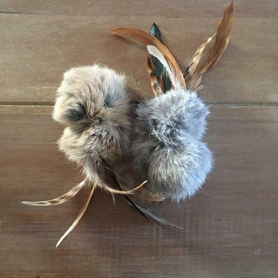 Cat-fishing Lure Rabbit Fur Feathers Interactive Cat Toy