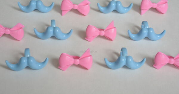 12 Pink Blue Baby Cupcake Ring Mustache Bow Boy Girl Shower Gender Reveal Party